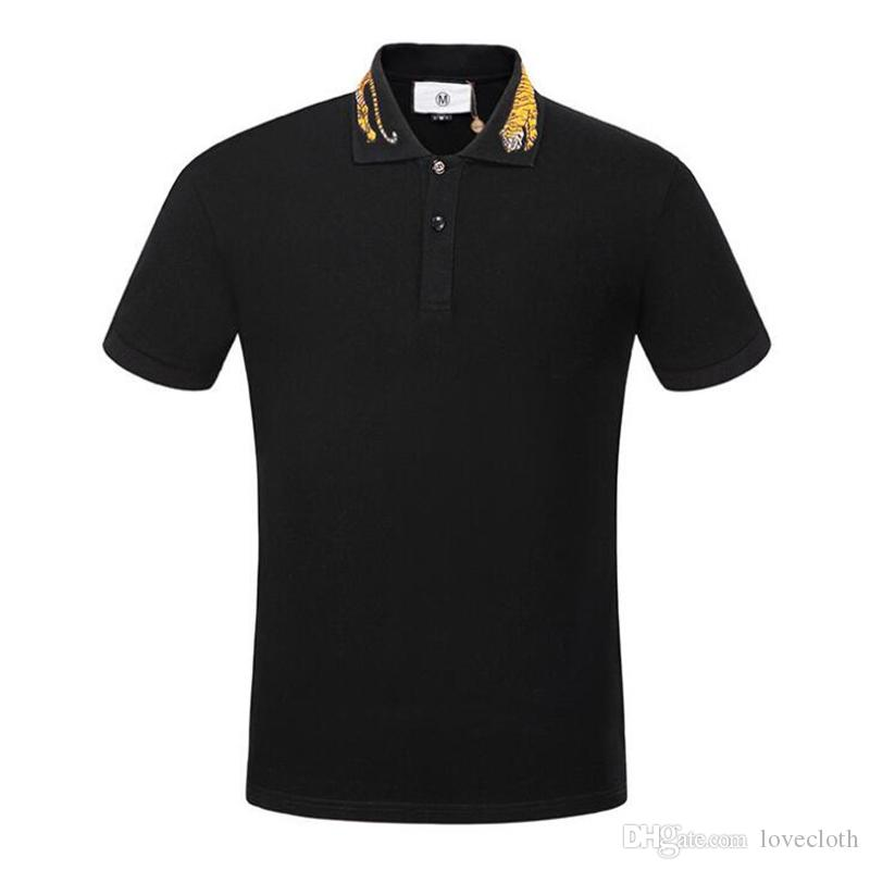Transer Polo Shirts for Men Yellow Tiger Embroidery Slim Fit Long Sleeve T-Shirts Tops Blouse