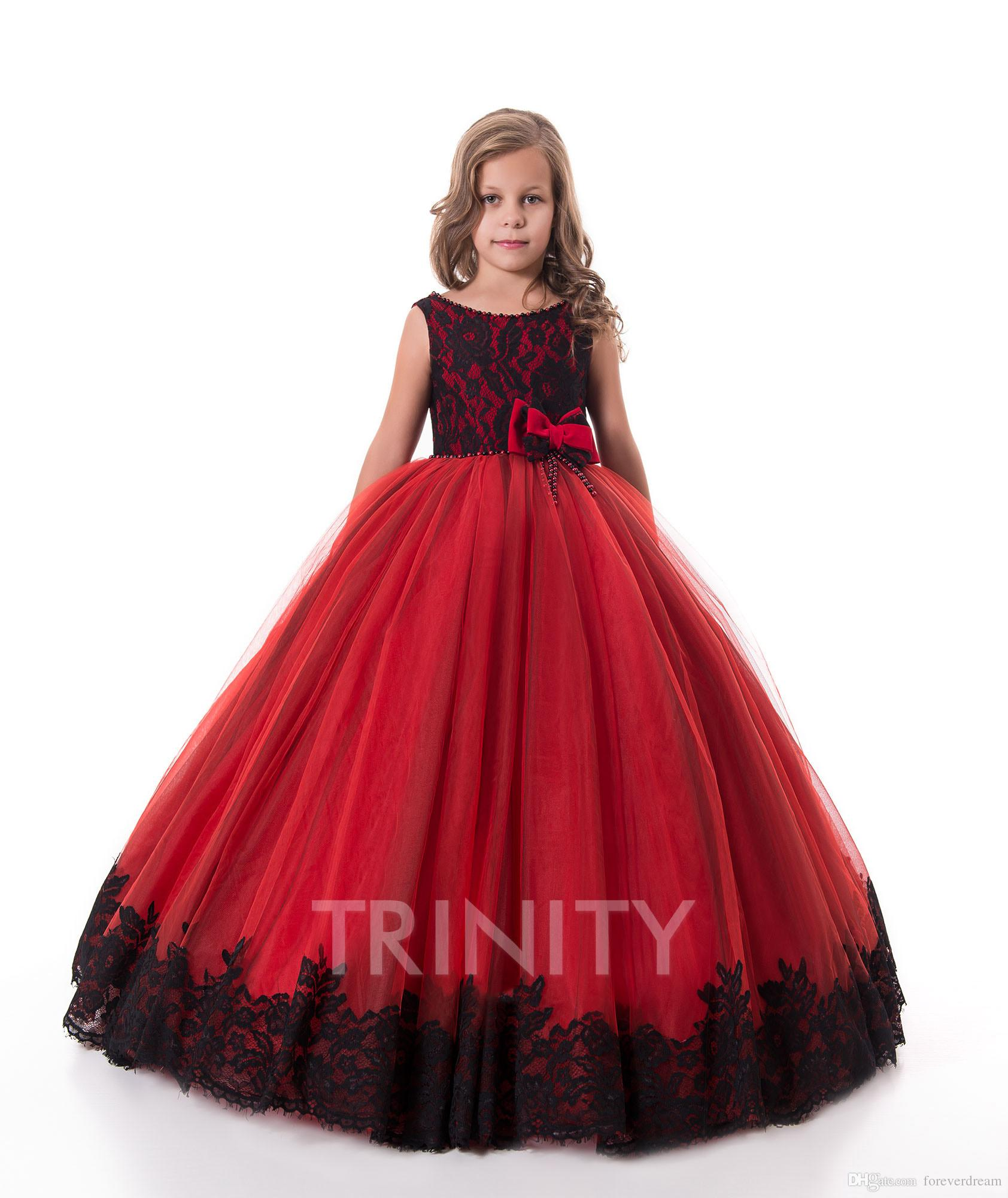 Lovely Red Lace/Tulle Jewel Applique Pearls Flower Girl Dresses Girls' Pageant Dresses Birthday Holidays Dresses Custom Size 2-14 FF726038