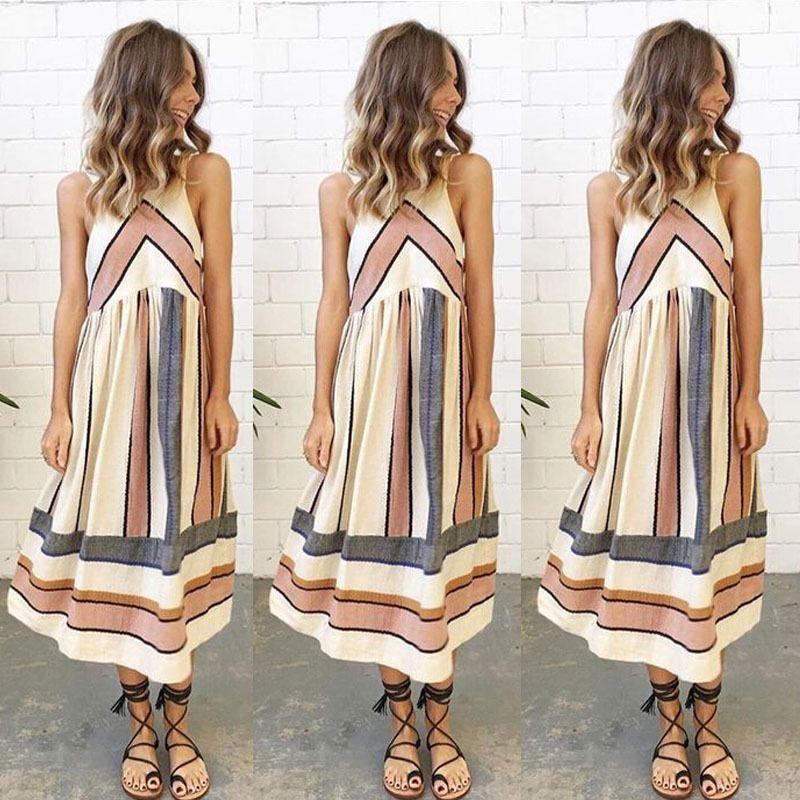 Nowe Kobiety Letnia Sukienka Plus Size O Neck Bez Rękawów Długa Długa Boho Plaża Drukuj Pasek Linia Sukienki Vestido