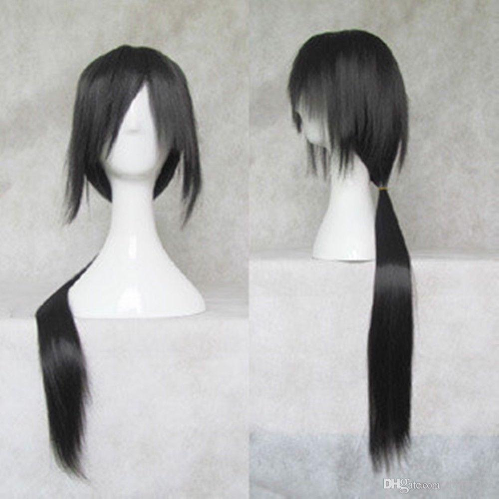 Caliente ! Nueva Uchiha Itachi COSPLAY peluca negra recta larga Envío gratis Nueva peluca de imagen de moda de alta calidad