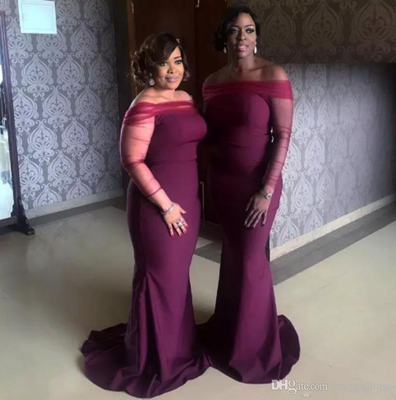 Son Varış Nedime Elbisesi kadın Uzun Kollu Örgün Elbiseler Bateau Düğün Parti Onur Hizmetçi Elbise