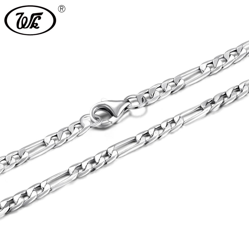 WK 50CM-75CM 3MM 925 Sterling Silver Figaro Chain Men Male Mens Silver Necklace Chains Jewelry 20 22 24 26 28 30 Inch 2018 NM021 Y18102910