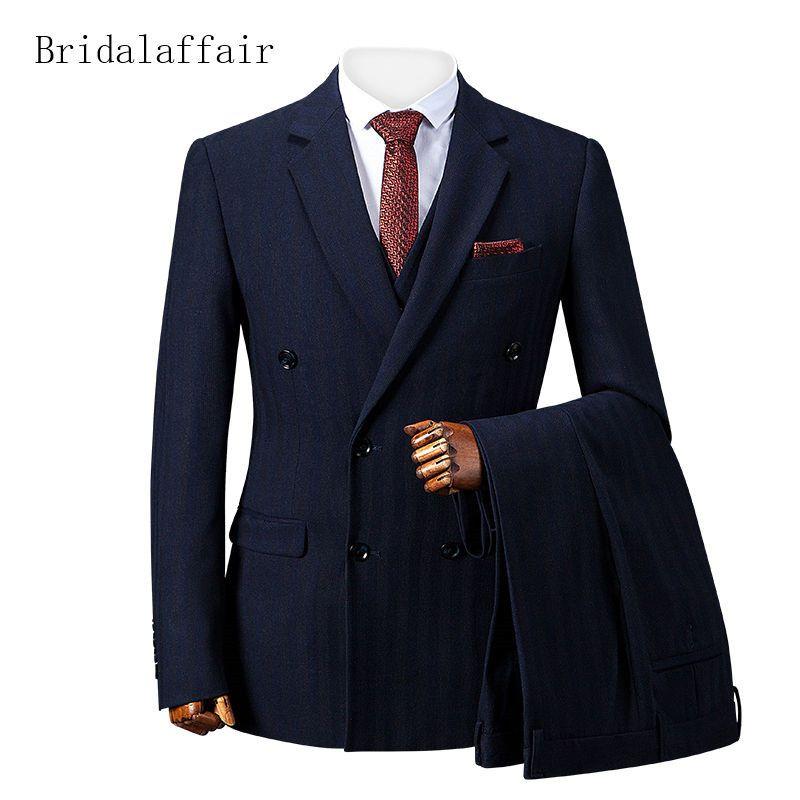 Bridalaffair Mens Suits for Wedding Formal Groom Suit 3Pcs (Jacket+Pants+Vest) Slim Navy Blue Stripes Printed Luxury Men Tuxedo 2019