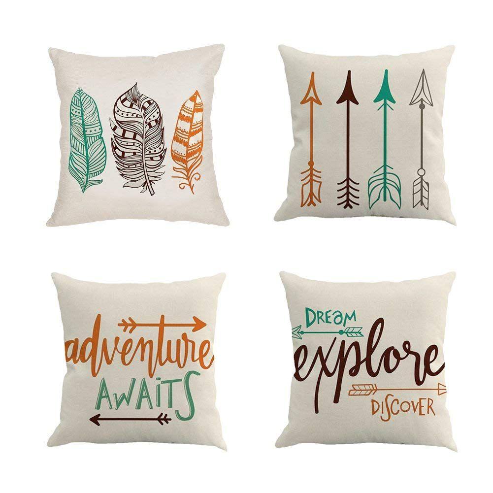 Citation inspirante avec flèche Taie d'oreiller en coton décoratif Housse de coussin en lin à la maison Décor de canapé Taie d'oreiller Ensemble de 4