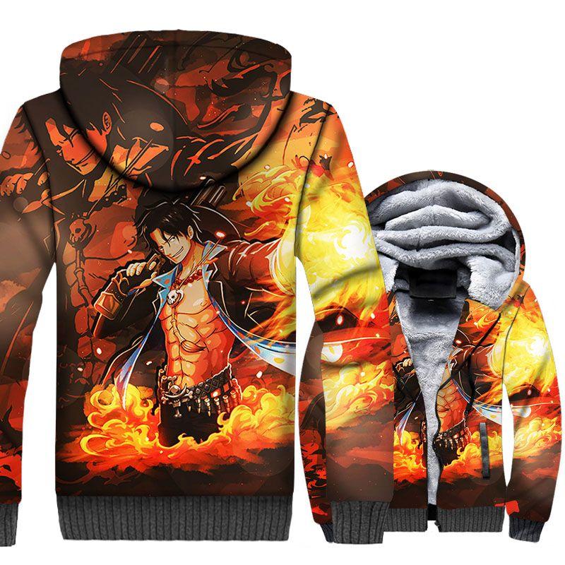 Anime One Piece Portgas Ace Hoodie Autumn Spring Cotton Full Sleeve Sweatshirt