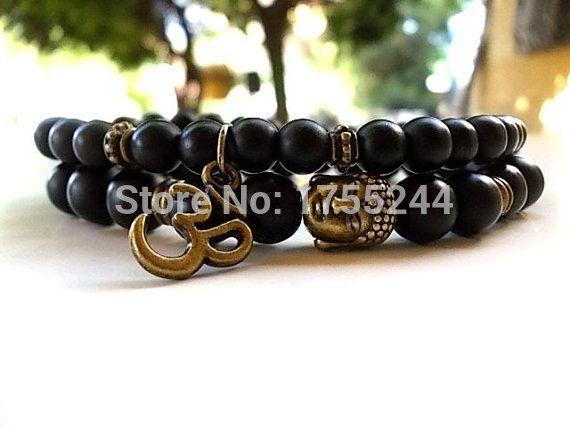 Ensemble de 2 bracelets Bouddha Yoga et bracelet de méditation Hommes Bracelet en pierre Matte Bracelet en Onyx noir