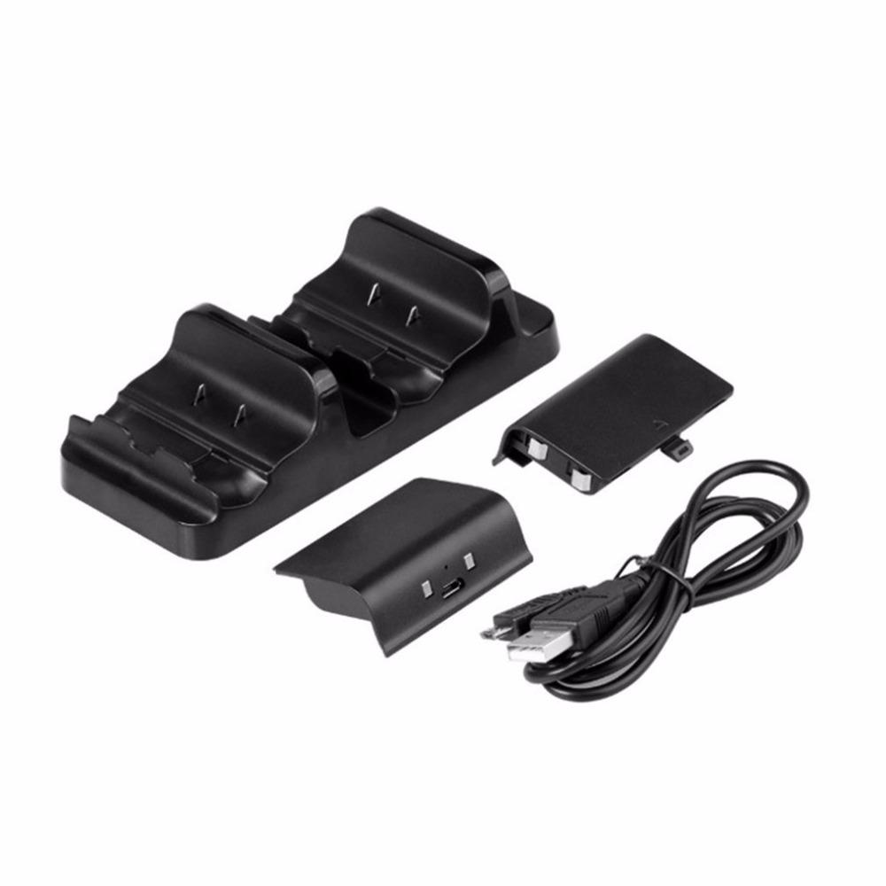Freeshipping Dual Charging Dock for XBOX ONE Wireless Gamepad Gaming Controller With Two Rechargeable Batteries and one USB Cable