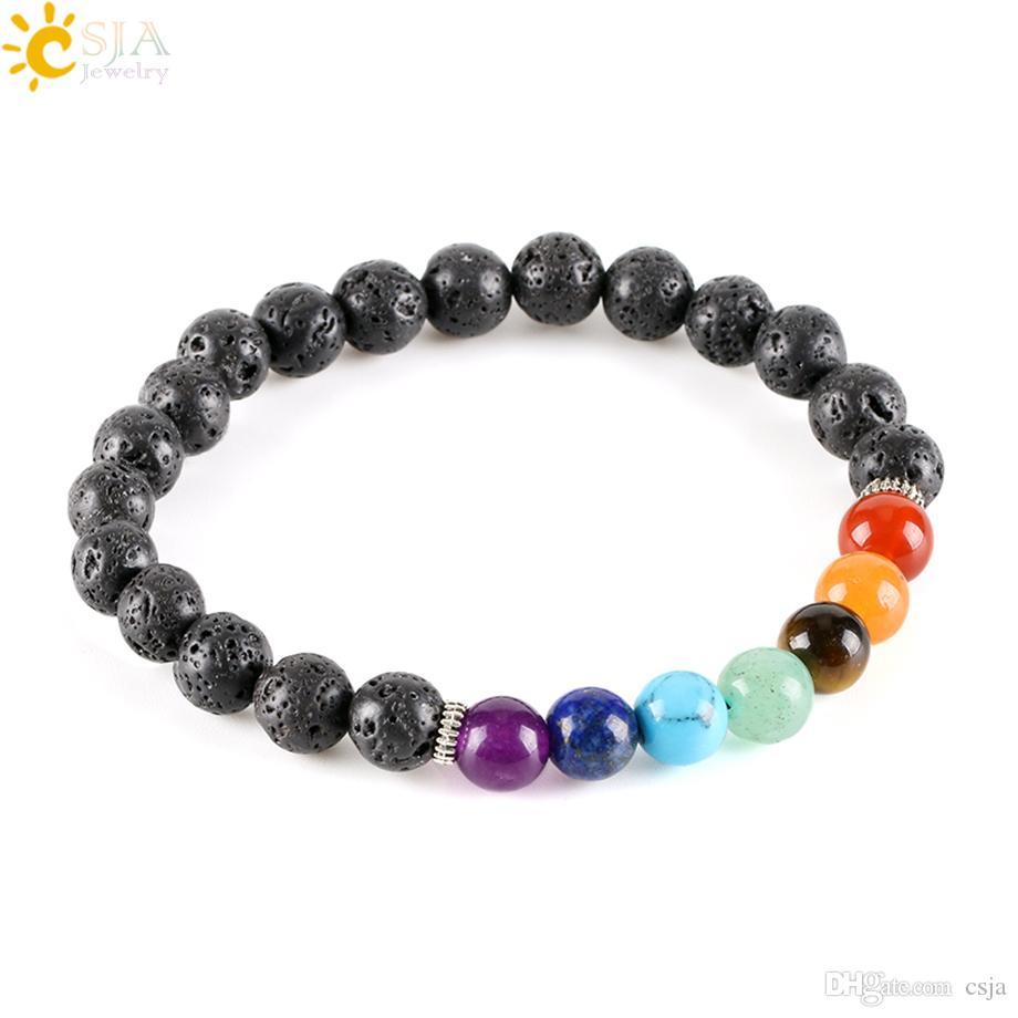 CSJA 8mm Women Men Natural Black Lava Rock Beads 7 Chakra Bracelets Healing Energy Stone Meditation Gem Stone Mala Bracelet E278
