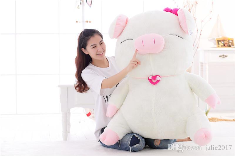 Büyük Beden Güzel Beyaz Domuz Peluş Oyuncak Bebek Big Pink Doldurulmuş Hayvan Yastık Yastık Sevgililer Günü Hediyeleri