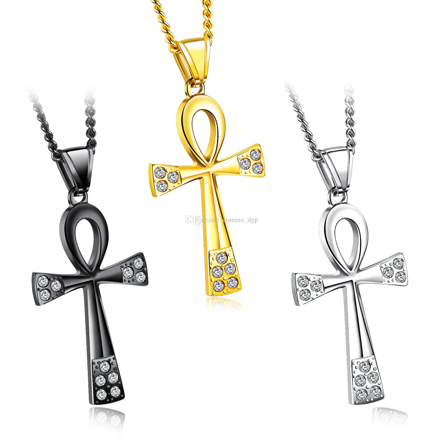 Stainless steel Egypt Ankh Key of Life necklaces Egyptian Bling Rhinestone Cross Pendant necklace For Men s Hip hop Jewelry