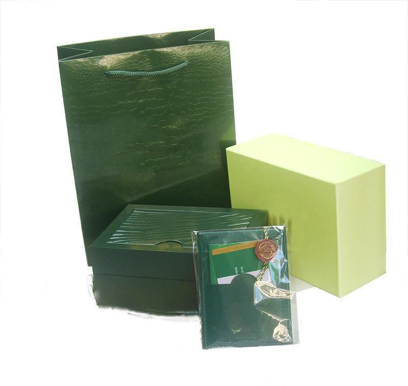 شحن مجاني أعلى ماركة الساعات الفاخرة الأخضر الأصلي مربع أوراق هدية الساعات صناديق حقيبة جلدية بطاقة 0.8 كيلوجرام ل رولكس ووتش مربع.
