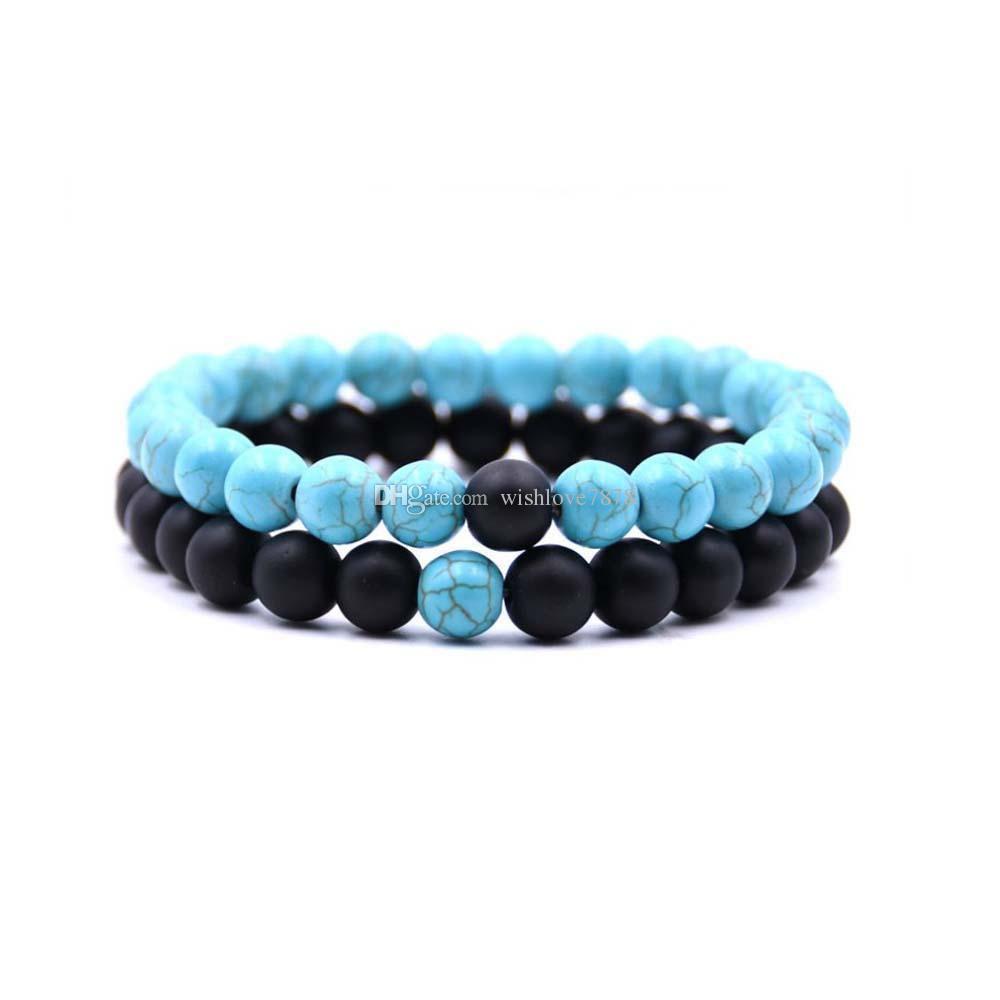 New beads design matte black stone tiger eye elastic line bracelet natural stone set bracelet couple bracelet