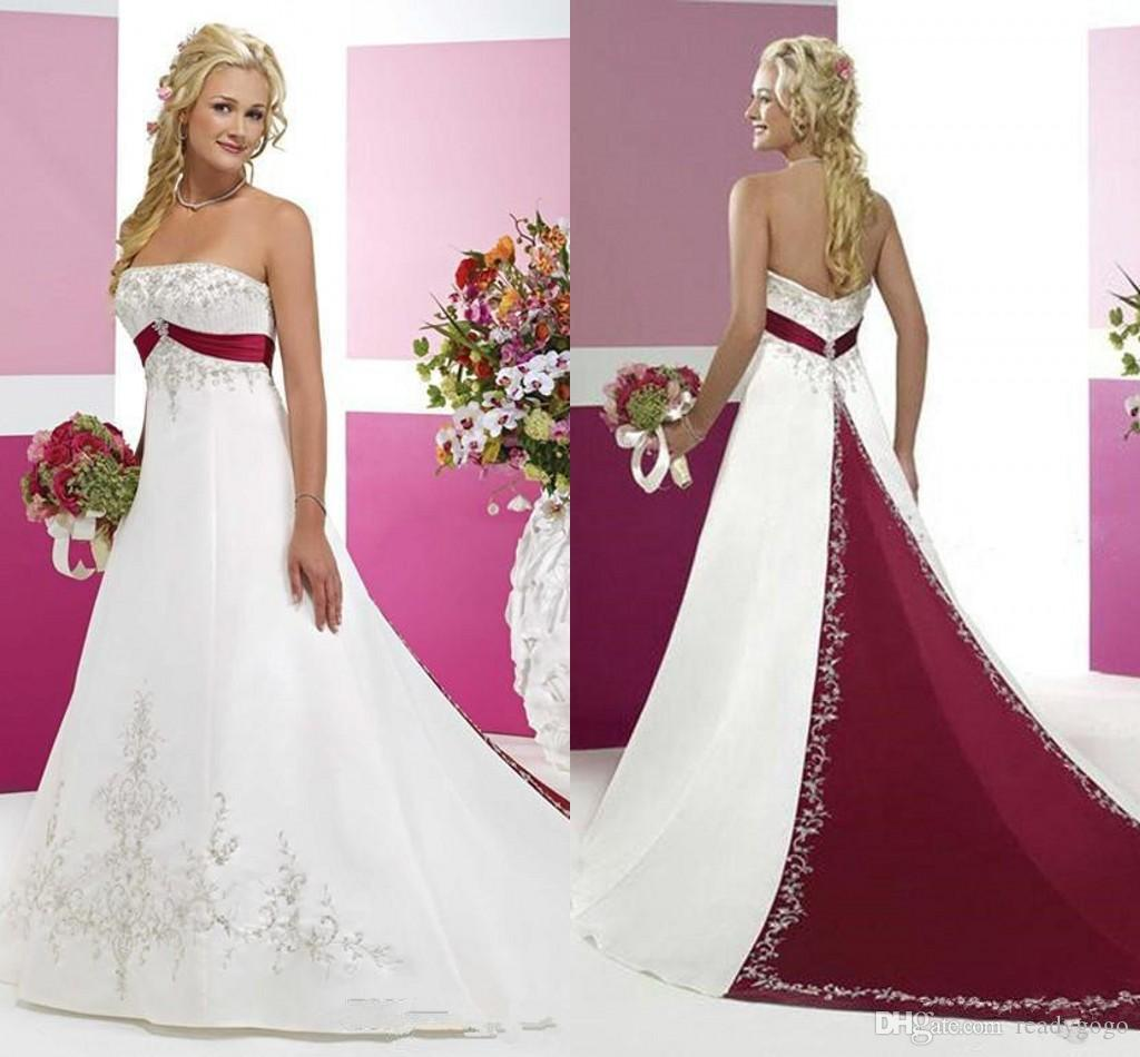 Burgundy and White Wedding Dresses 2018 Modest Strapless Stain Embroidery Two Tone Sweep Train Country Vintage Bridal Wedding Gown