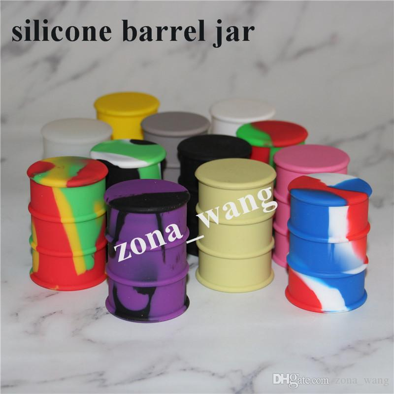 Storage Silicone Jar Container 26ml Wax Box For Oil Drum Barrel Containers 5pcs lot Mixed Color silicone water pipe barrel rigs