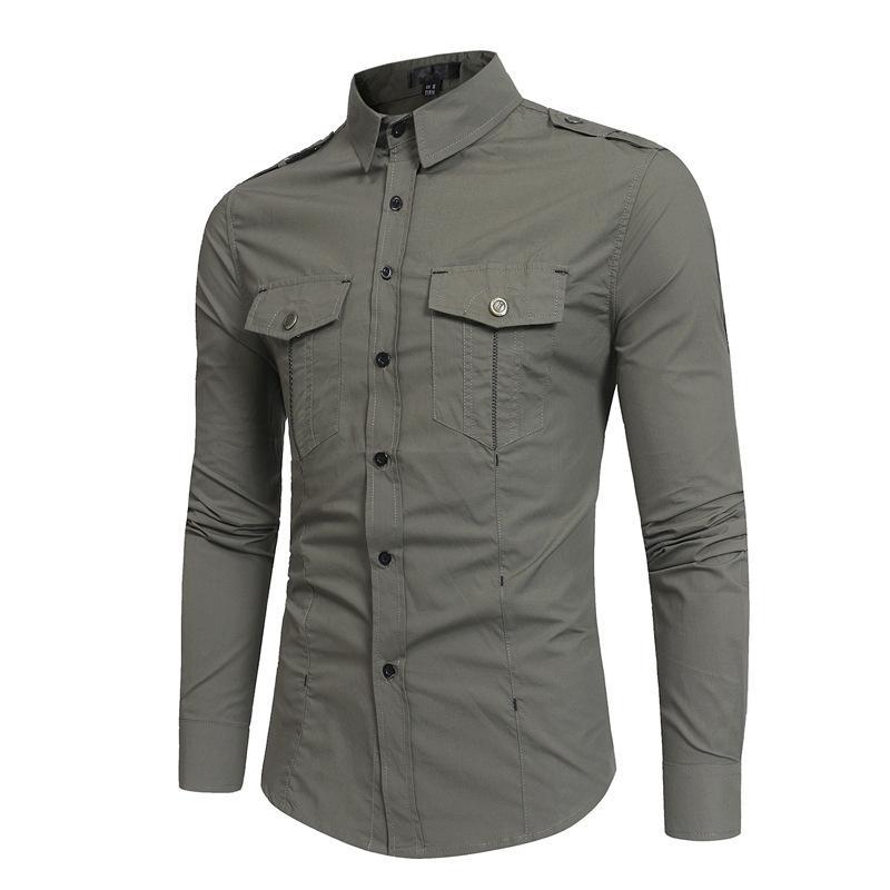 Erkekler Uzun Kollu Kargo Gömlek Camisa Masculin Slim Fit Casual Turn Down Yaka Gömlek Cep Haki Erkek Moda Gömlek Erkekler Giyim