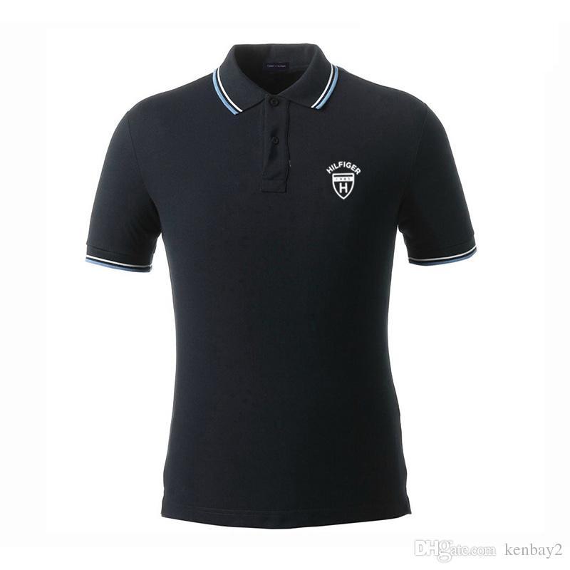 2019 stickerei luxus polo shirts männer marke kurzarm umlegekragen shirts zu * m * t shirts männer baumwolle reine farbe casual polo t-shirts