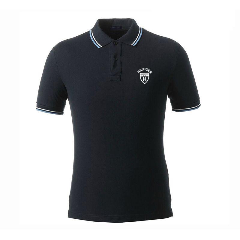 2019 del ricamo di polo di lusso camicie da uomo camicie con colletto marchio manica corta couverture a * M * magliette degli uomini del cotone di colore puro casuali magliette Polo