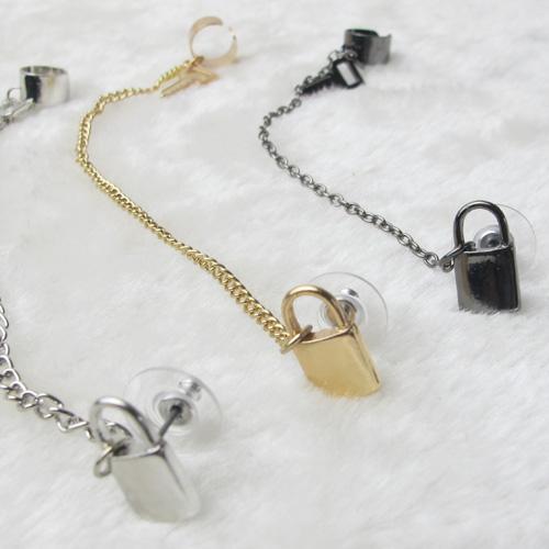 Ear Cuff Clip On Earrings Punk Jewerly Gold Key Lock Fashion Earrings For Women Earring Cuffs TA-2.99 5D