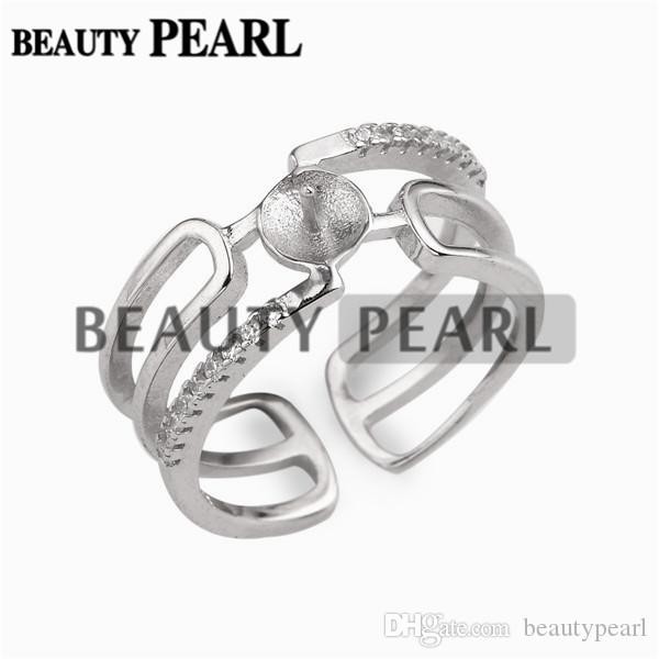 Cuff Design Pearl Ring Mount Zircon 925 Sterling Silver DIY Findings Open Cuff Ring 5 Pieces