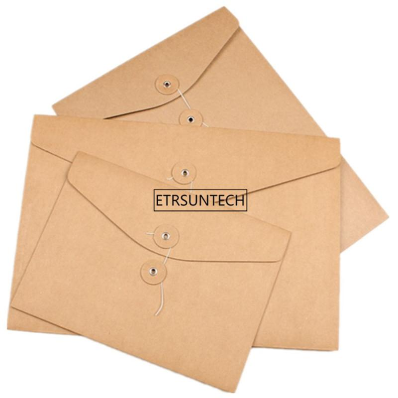 Brown Kraft Paper A5/A4 Document Holder File Storage Bag Pocket Envelope Blank with Storage String Lock Office Supply Pouch