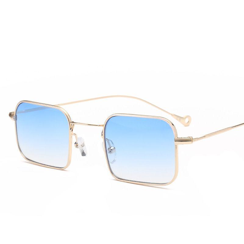 Petites lunettes de soleil carrées pour femmes Lunettes de soleil à verres bicolores 2018 New Sunglasses