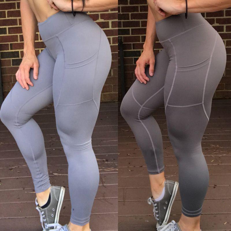 Leggings Mujer Push Up Fitness Leggings Con Bolsillo Moda Para Mujer Entrenamiento Cintura Alta Sólido Negro Tallas grandes 7 colores