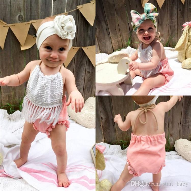 Newborn Baby Boy Girl Tassels Summer Romper Bodysuit Playsuit Clothes Outfit Set
