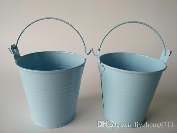 D7.5XH7.5CM (D3inch * H3inch) تين دلاء الزفاف تفضل حامل دلاء صغيرة ، دلاء صغيرة الطفل زهور للنباتات