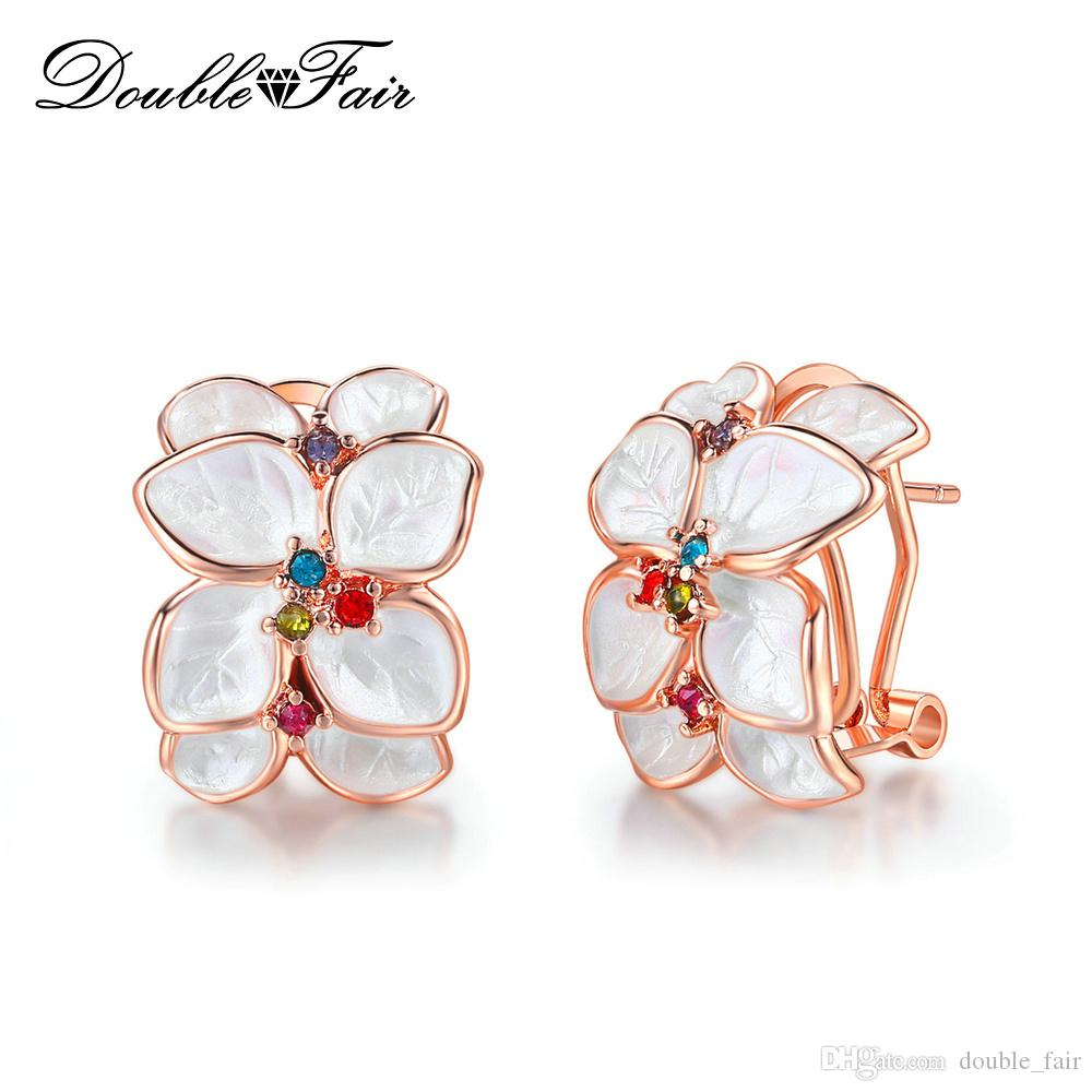 Double Fair Rose Gold Plated Multicolor CZ Diamond Flower Leaf Stud Earrings For Women Party & Gift Jewelry Wholesale DFE680
