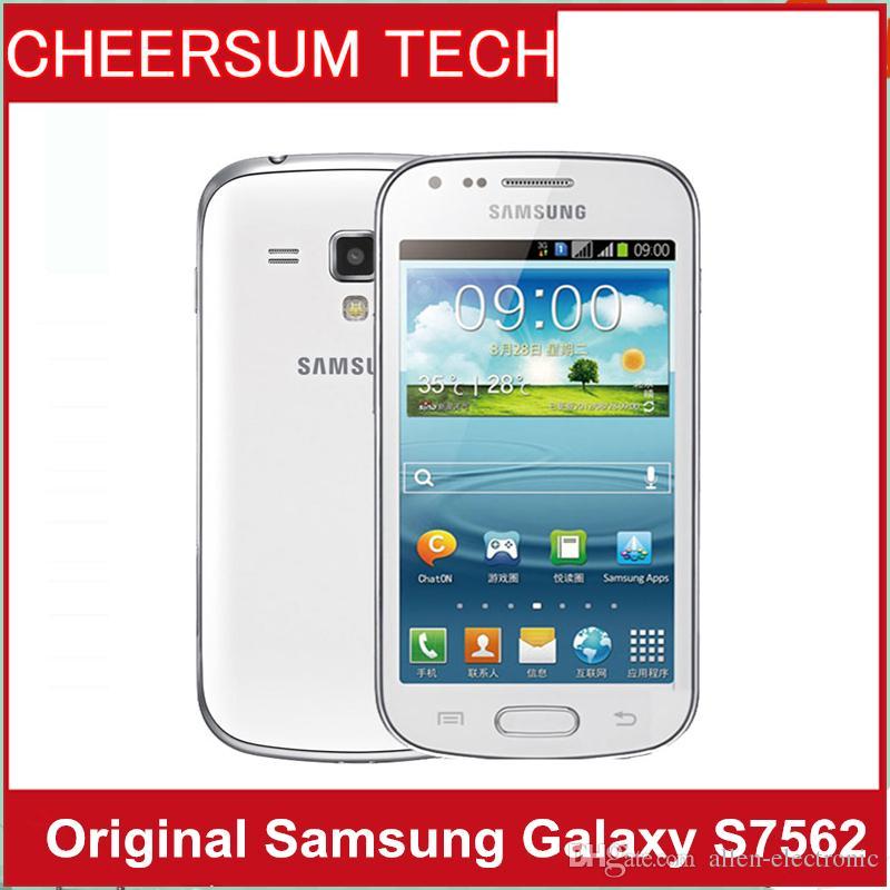 S7562 الهاتف الأصلي سامسونج غالاكسي تريند DUOS S7562 ثنائي بطاقات SIM GSM 3G 4.0 '' كاميرا واي فاي GPS 5MP الهاتف الخليوي مقفلة مجدد