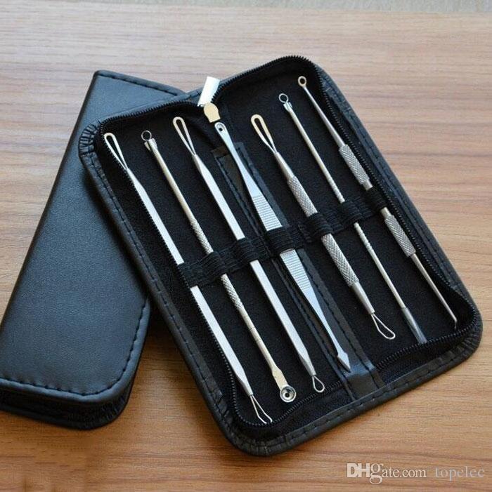 7 шт./компл. Черноголовых Remover Tools Kits прыщ порока Extractor акне Remover Tool Set макияж красота Tool Kit черная голова иглы