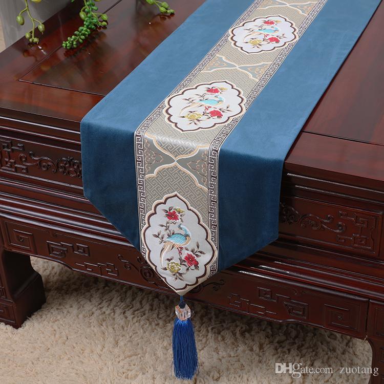 Tapis de table brodé rustique chinois coton chinois linge de table de noël décoration de table tapis de table rectangulaire rectangle 33 x 200 cm