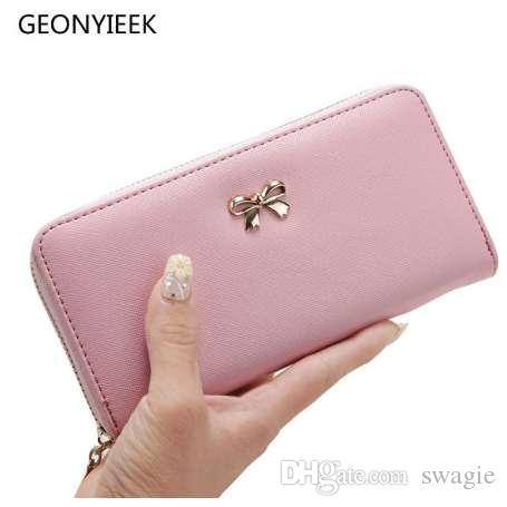 Portafoglio donna lungo frizione moda femminile PU pelle bowknot sacchetto della moneta portamonete portamonete famoso designer porta carte di credito