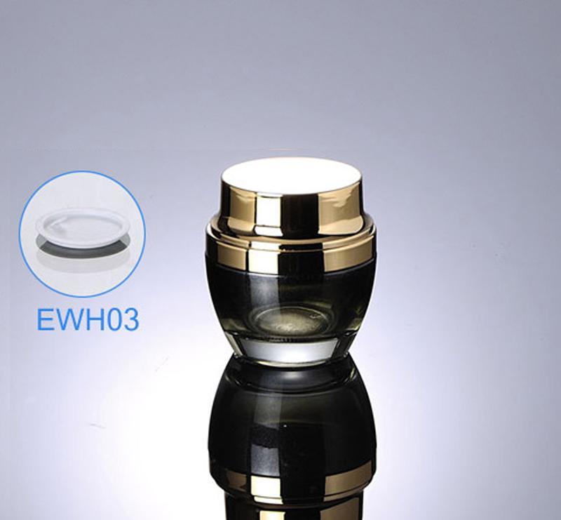 300pcs / lot Date 50g 50ml Haute Qualité En Verre Crème Jar Noir Avec Couleur D'or Pour L'emballage Cosmétique EWH03