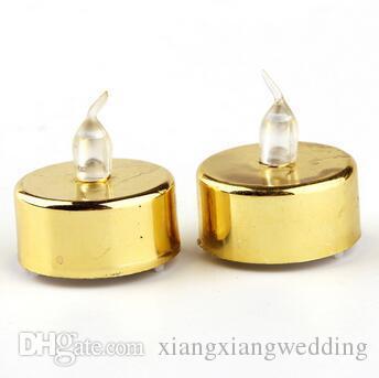 Luces de boda 3.2 * 4.2 cm Batería Parpadeante Sin llama LED Tealight Té Velas Luz Fiesta de cumpleaños Decoración de Navidad Oro Plata