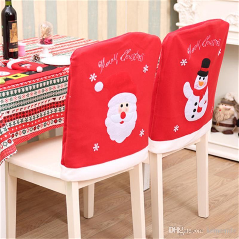 2018 Christmas Santa Claus Snowman Chair Cover Non-woven Fabrics Christmas Decorative Chaircase Perfect Home Hotel Restaurant Decoration