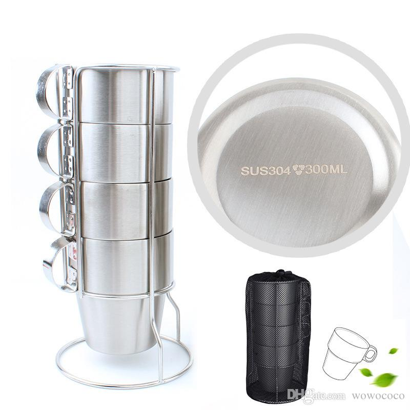 4 PCS Outdoor Portable Picnic Cups 304 Stainless Steel Drinking Mugs Anti-Hot Tea Coffee Cup Set X130