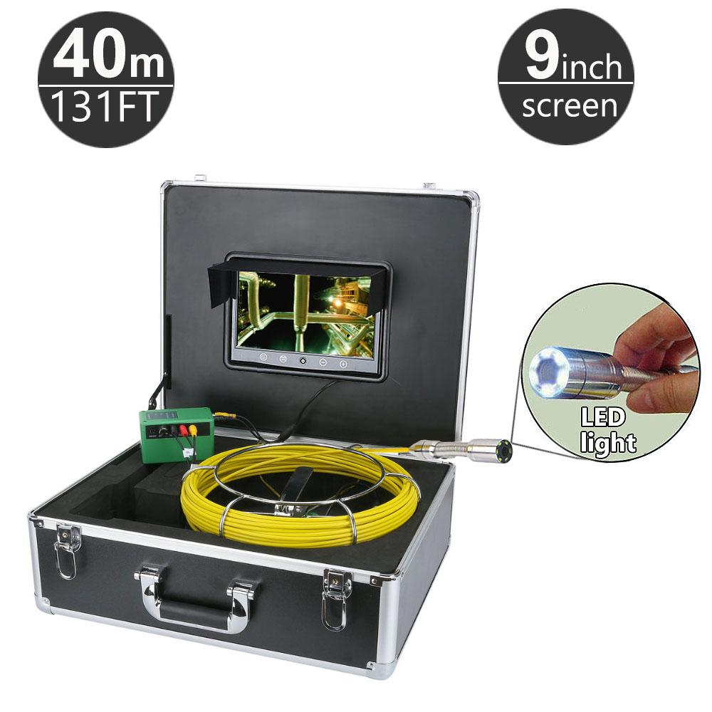40M/131ft Sewer Pipe Pipeline Drain Inspection System 9 inch LCD Monitor 1000TVL Snake Drain Waterproof Pipe & Wall Video Camera