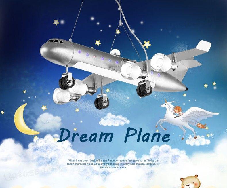 Creative Plane Pendant Lights Led Hanging Lamp Creative Aircraft Light for Children's Room Kid Bedroom Home Lighting Fixtures LLFA