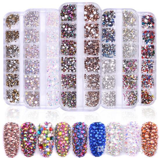 Tatyking 8 Styles Nail Art Strass Kit Strass Nail Studs halbe Perlen Pferdeauge Strass-Nagel-Kunst-Fertigkeit DIY