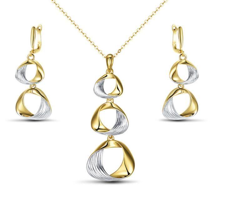 Nuevos sistemas de la joyería del color de plata del oro para la moda de las mujeres Los círculos del color mezclado trenzaron los pendientes fijaron la joyería del partido