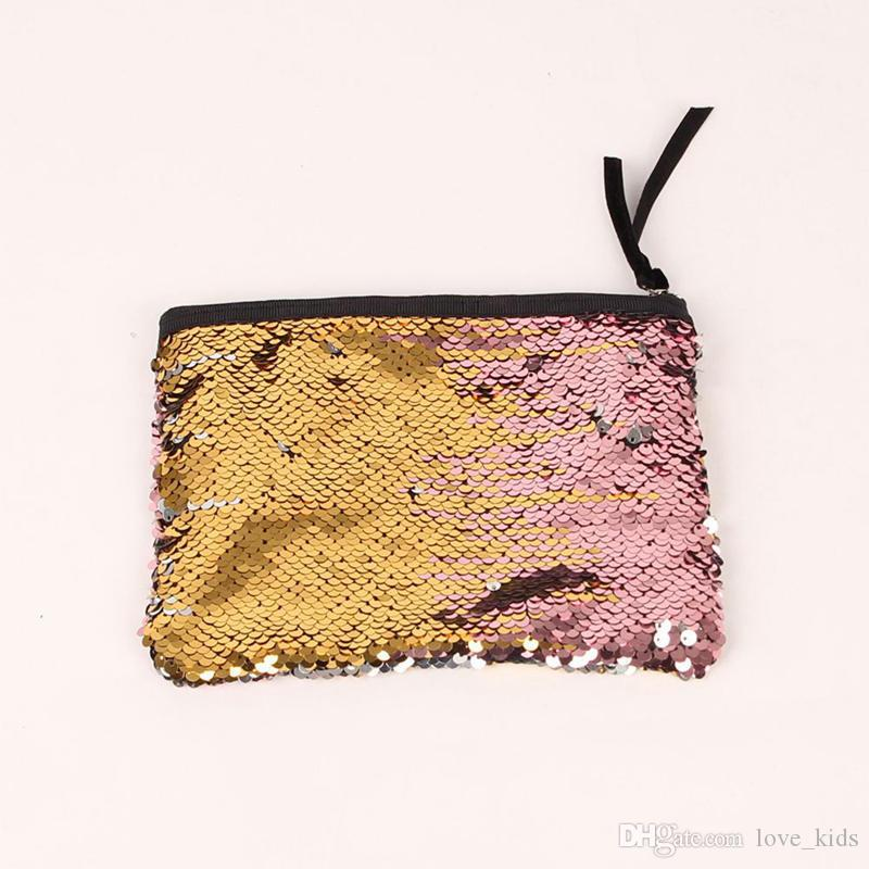 Wholesale new Fashion cosmetic bag double-sided sequins hand bag women fashion evening party change pocket lady girls Dinner Bag