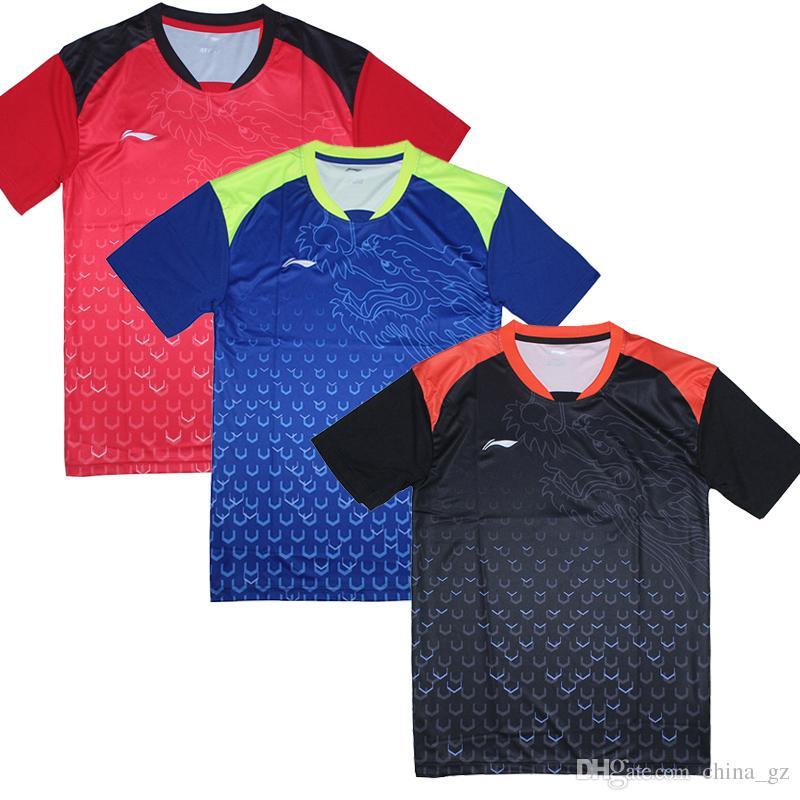 2018 Novo Li-Ning camisa de tênis de mesa para Homens, Ma Long Camisolas ping-pong t-shirt, China Equipe de Ténis De Mesa roupas 6031A