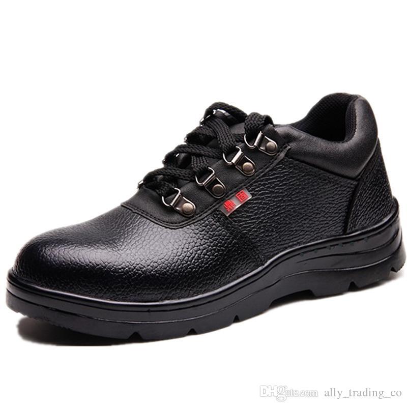Мужчины стали носком безопасности труда обуви из натуральной кожи Casual Anti-удар Обувь Открытый проколам тапки ботинки водонепроницаемый безопасности