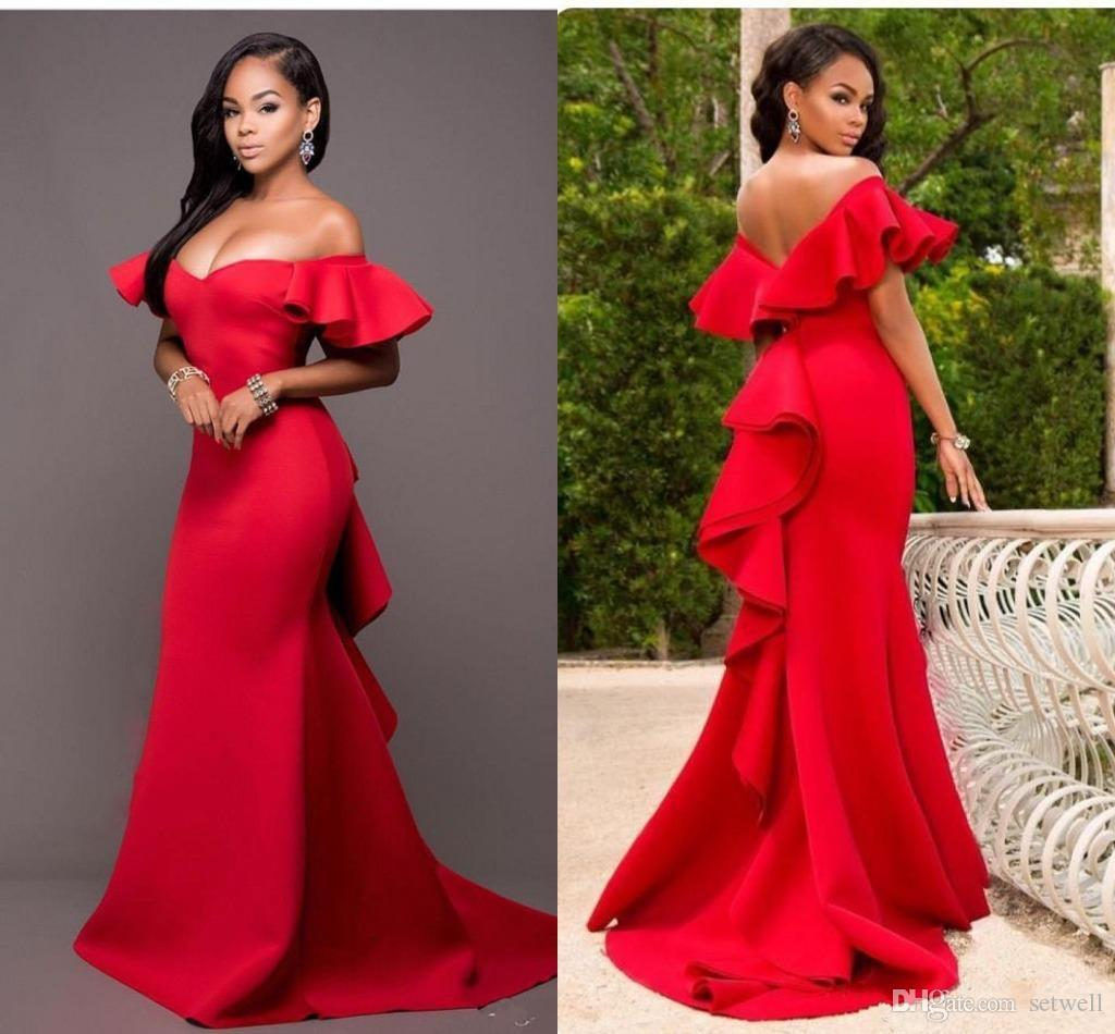 Fashion Red Mermaid Evening Dresses Sexy Off Shoulder Backless Prom Dress Simple Ruffled Arabic Special Occasion