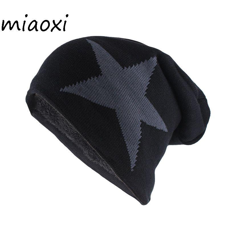 Miaoxi New Big Star Winter Warme Mütze Für Männer Frauen Gestrickte Wolle Mützen Skullies Dame Marke Farben Gorros Schädel Motorhaube
