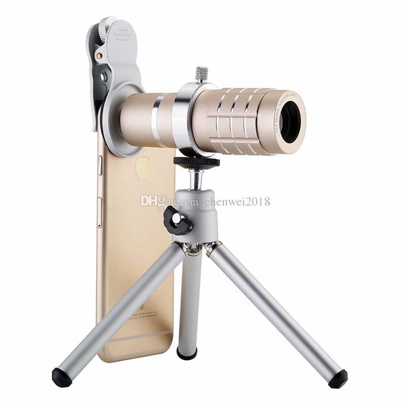 Evrensel klip Cep Telefonu Mercek 12X Zoom Optik Teleskobu cep telefonu Kamera Lens ile tripod iPhone Samsung Huawei Xiaomi