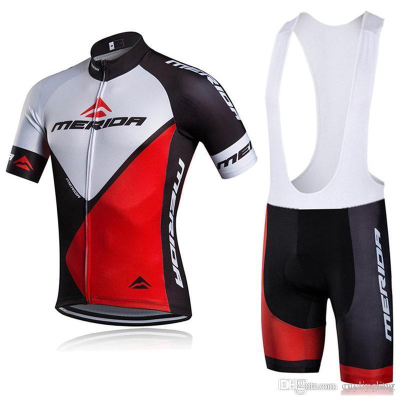 새로운 메리다 사이클링 저지 자전거 반소매 셔츠 + 턱받이 / 반바지 세트 투어 드 프랑스 사이클링 의류 자전거 빠른 건조 로파 ciclismo B2202