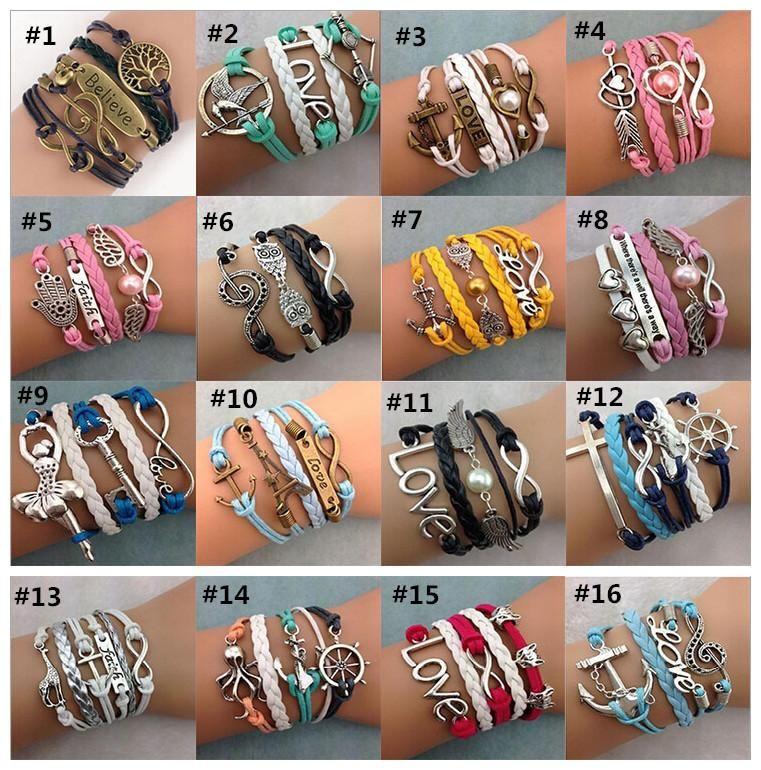 Vente chaude Infinity Charm Bracelets Antique Cross Bracelets style indien est-asiatique