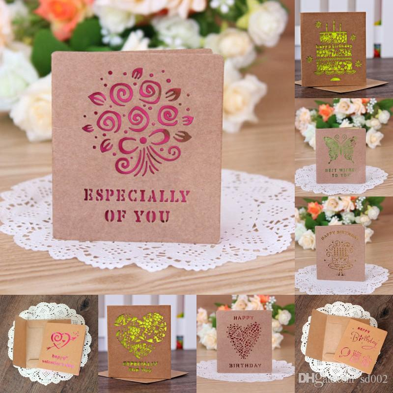 Kraft Paper For Valentine And Mother Day Greeting Cards Blessing Card Laser Cut Wedding Invitation Decorations Many Designs 0 42bl C RZ